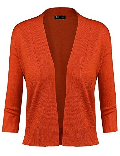 BILY Women's Classic Open Front Cropped Cardigan Orange Large