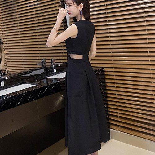 Robe et sans Noire Longue Robes Robe Sexy Manches MiGMV Black Une L Une sme q6fWxSZ6wE