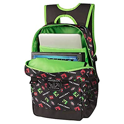 JINX Minecraft Scatter Creeper Kids School Backpack, Black, 17