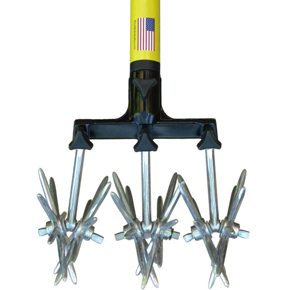 Professional Rotary Cultivator Tool - 40'' to 60'' Handle - For Bare Spots or Patches - Reinforced Tines - Reseeding Grass or Soil Repair - All Metal, No Plastic Structural Components - Cultivate Easily by Rocklin Industry