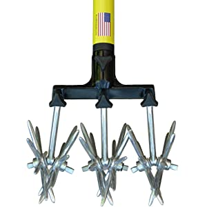 """Cultivator Tool - 40"""" to 60"""" Handle - for Bare Spots or Patches - Reinforced Tines - Reseeding Grass or Soil Mixing - All Metal, No Plastic Structural Components - Cultivate Easily"""