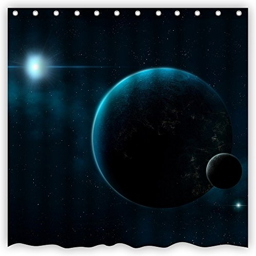 ce Universe Galaxy Stars Sun Earth Moon Lunar Eclipse Art Bathroom Shower Curtain,72-Inch by 72-Inch,Unique and Generic Waterproof Polyester Fabric Decorative Bath Curtain Designs ()