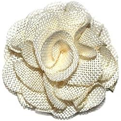 (10 Pcs) JLIKA Large Burlap Flowers Embellishments for Weddings, Hair Accessories, Scrapbooking or Crafts (Ivory)