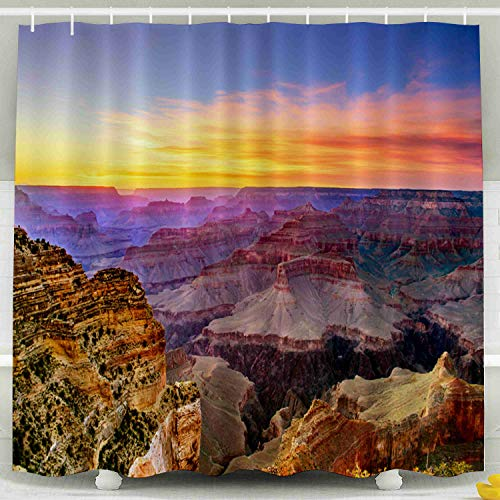 KIOAO Farmhouse Shower Curtain Liner Fabric,Grand Canyon South Rim Sunset Point 78X72Inch Waterproof Extra Long Shower Curtains