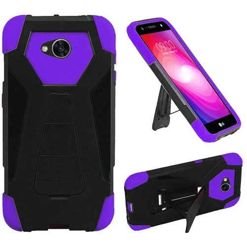 [Phone Case for Simple Mobile LG Fiesta (Straight Talk) (Walmart Family Mobile) / LG X Power 2 LTE / LV7 Rugged Cover With Wide Stand (Wide Stand Black-Purple Corner)] (Wal Mart Cell Phone Cases)