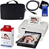 Canon Selphy CP1200 Wireless Color Photo Printer (White) + Canon KP-108IN Color Ink Paper Set (Produces up to 108 of 4 x 6 prints) + Xtech Custom Case + USB Printer Cable + HeroFiber Cleaning Cloth