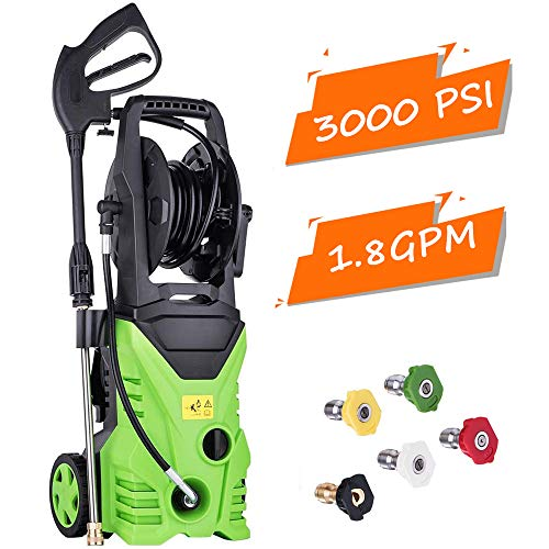 Billti 3000 PSI Electric Pressure Washer 1800W High Pressure Professional Washer Cleaner Machine Rolling Wheels with Power Hose Nozzle Gun and 5 Quick-Connect Spray Tips (US Stock) (Type 3-3000 PSI)
