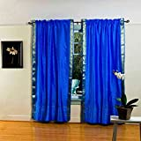 Blue 84-inch Rod Pocket Sheer Sari Curtain Panel (India) – Pair For Sale