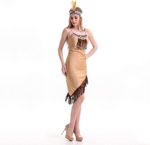 Disfraces de Halloween, Disfraces Tribu india de Primal partido de las muchachas de los trajes los trajes uniformes del juego de la tentación de Cosplay del partido del maquillaje de Halloween: Amazon.es:
