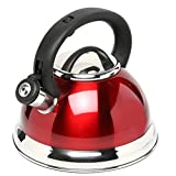 Metro Basics Stainless Steel Whistling Kettle with Capsulated Bottom 3 L - Metallic Red