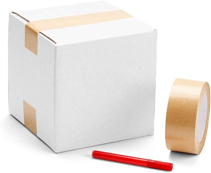 Lot de 25 bo/îtes dexp/édition en carton Kraft ondul/é Blanc 4 x 4 x 4 cm