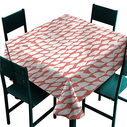 - DONEECKL Square Tablecloth Coral 60s Psychedelic Brushstrokes Indoor Outdoor Camping Picnic W54 xL54