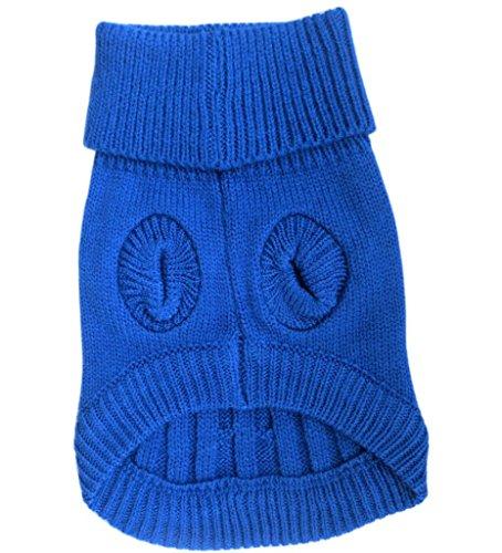Product image of Tangpan Turtleneck Classic Straw-rope Pet Dog Sweater Apparel (Dark Blue, L)