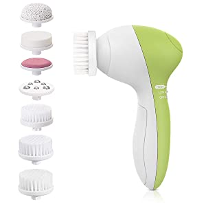 Facial Cleansing Brush [Newest 2020], PIXNOR Waterproof Face Spin Brush with 7 Brush Heads for Deep Cleansing, Gentle Exfoliating, Removing Blackhead, Massaging