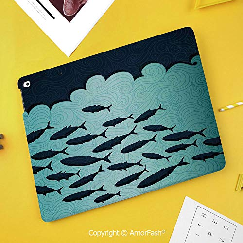 Printed Case for Samsung Galaxy Tab S4 10.5 SM-T830 T835 T837 Tablet Kids Safe,Ocean Animal Decor,Surreal Graphic Ornate Swirl Waves and Group of Fish Theme,Blue Turquoise