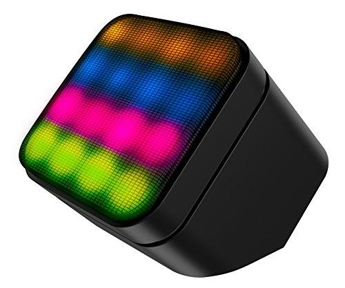 Sharper Image SBT5003BK Sound-Responsive Mini Wireless Bluetooth Speaker with LED Lights, Black
