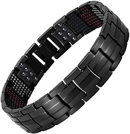 Hottime 591 PCS Bio Elements Energy Stone Titanium Steel Magnetic Golf Bracelets