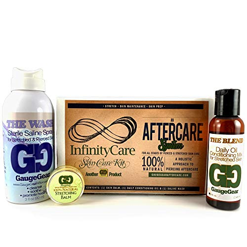 Gauge Gear Premium Stretched Ear Care Kit Piercing Aftercare and Stretched Ear Care Stretching Balm, -