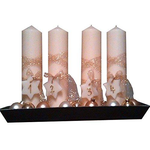 Weihnachten Adventskranz Adventsgesteck MODERN mit Kerzen Set 4 Stück Stumpenkerzen Adventskerzen Dekokerzen Kerzen Tischkerzen 300x60 creme gold Mit Zahlen Sterne 1234 Mit Weihnachtskugeln und Schale IW32