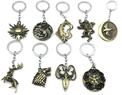 [WOB 9pcs Game of Thrones Inspired House Sigils Keychain Pendants Charms Complete Set] (Adult Dumbledore Costumes)