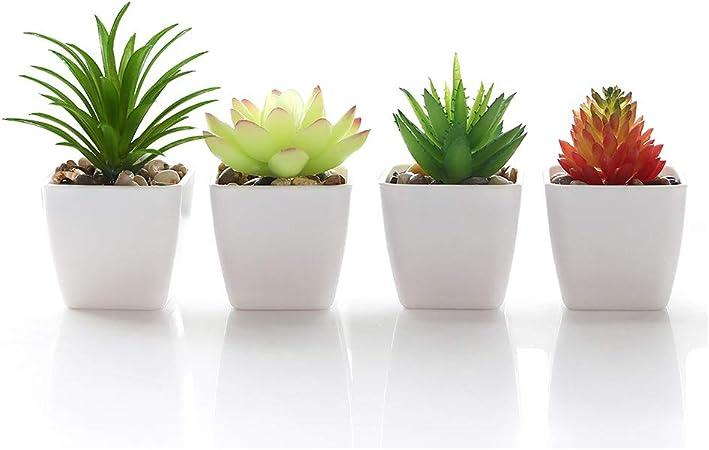 Veryhome Fake Suculentas Plantas Artificiales En Macetas En Mini Macetas Cuadradas Blancas para Jardín De Casa Decoración Verde (Maceta de plástico): Amazon.es: Jardín