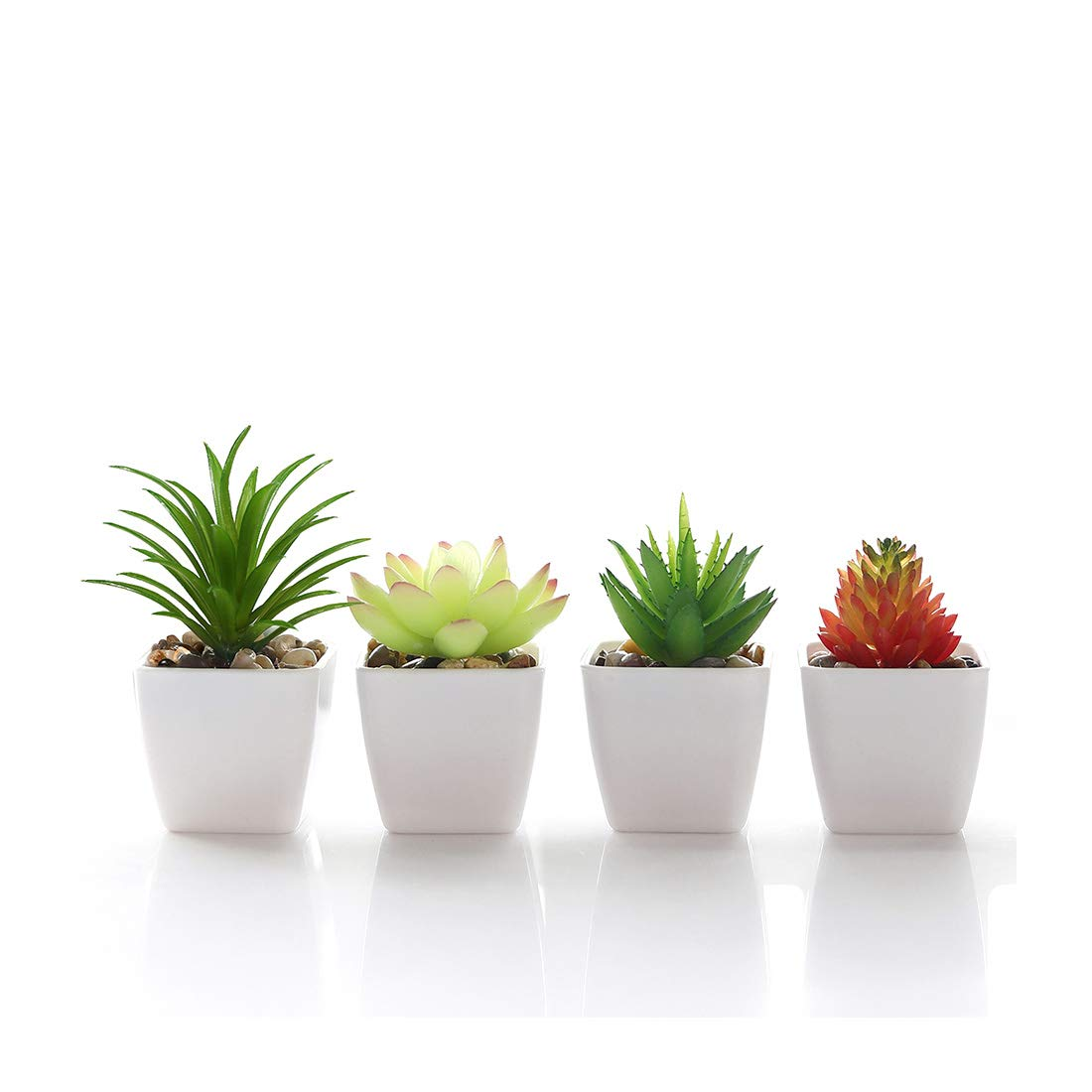 Ceramic Basin-4PCS, S-4PCS Veryhome Fake Succulents Plants Artificial Potted in Mini Square White Pots for Home Garden Decor Green