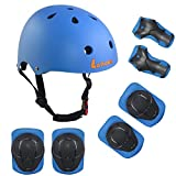 LANOVAGEAR Kids Adjustable Sports Protective Gear Set Safety Pad Safeguard (Helmet Knee Elbow Wrist) for Roller Bicycle BMX Bike Skateboard Roller Skate and Other Extreme Sports Activities (Blue)