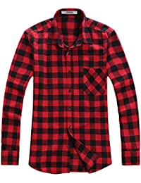 OCHENTA Men's Button Down Long Sleeve Plaid Flannel Shirt