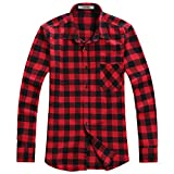 OCHENTA Men's Button Down Long Sleeve Plaid Flannel Shirt N056 Red Black Asian 3XL - US L