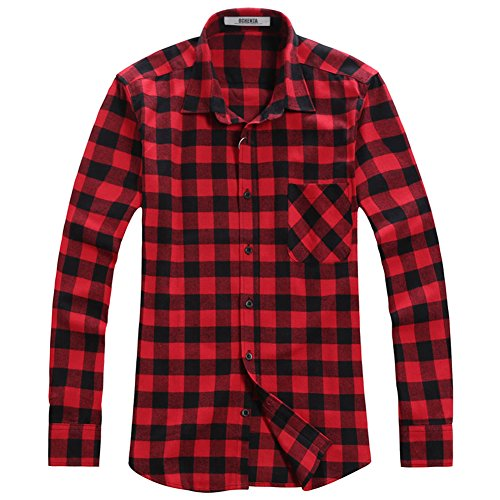 OCHENTA Men's Button Down Long Sleeve Plaid Flannel Shirt N056 Red Black Asian XL - US (Red Flannel)
