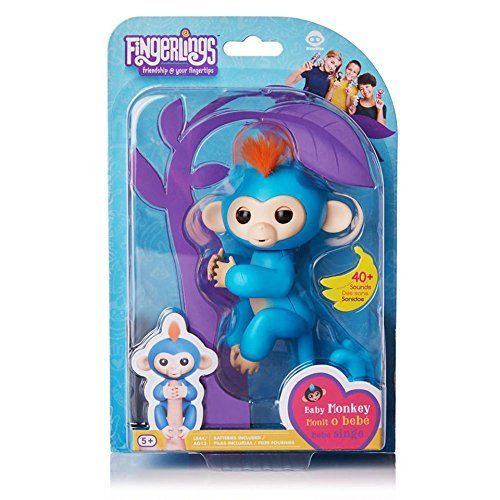 Fingerlings Baby Monkey - Boris - Blue (Includes Bonus Stand) from WowWee