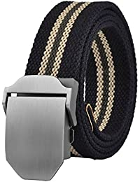 Military Thicken Canvas Web Belt Plain Buckle Genuine Leather Trimming