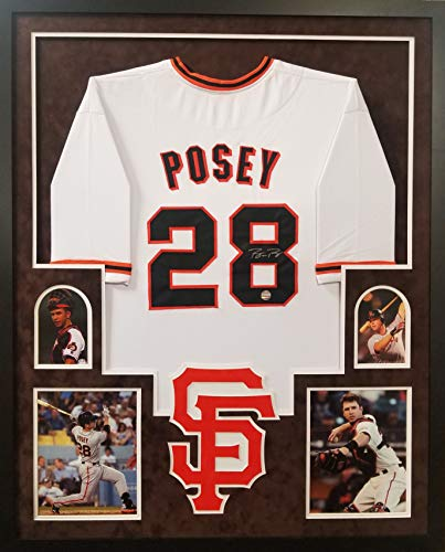 Buster Posey San Francisco Giants Autograph Signed Custom Framed 4 Picture Suede Matted Jersey LOJO Sports Certified (Francisco Pictures Giants San)