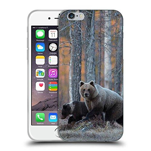 """Just Phone Cases Coque de Protection TPU Silicone Case pour // V00004120 Les ours bruns dans la forêt d'automne // Apple iPhone 6 4.7"""""""