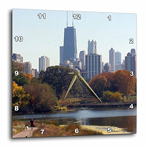 3dRose dpp_34519_2 Chicago in The Fall-Wall Clock, 13 by 13-Inch