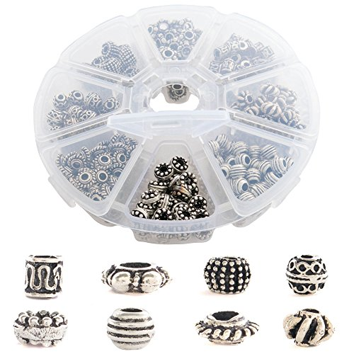 (Over 500 PCs Tibetan and Bali Silver Metal Spacer Beads for Jewelry Making Supplies Kit for Adults - 8 Style Unique Antique Look Bulk Bead Assortment - Great for DIY, Bracelets, Necklaces)