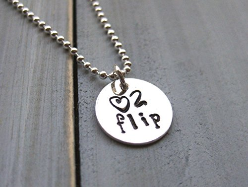 925 Sterling Silver Gymnastics Necklace Love to Flip Hand Stamped Custom Teen Gift Little Girl Jewelry (Necklace Silver Sterling Flip)