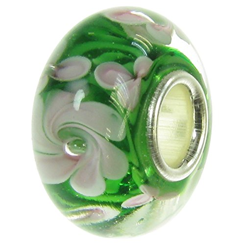 .925 Sterling Silver Pink Green Rose Flower Blossom Round Glass Bead For European Charm Bracelet (Rose Blossom Round)