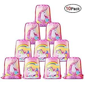 Howaf Lot 10 Unicornio Bolsa de Cuerdas Bolsas Regalo Cumpleaños Gymsack Poliéster Bolsa de Hombro Casual Linda Colegios Mochilas para Infantiles ...