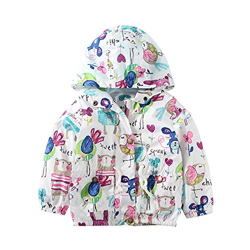 Price comparison product image Baby Girl Cartoon Print Graffiti Coat Wind Hooded Jacket Outerwear White 110cm