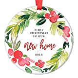 New Home Christmas Ornament 2018, First Year In Our New House, First Home Housewarming Apartment Condo RE Gifts Xmas Present Idea Ceramic Keepsake 3'' Flat Circle Porcelain with Red Ribbon & Free Box