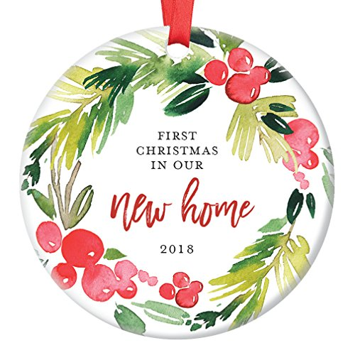 "New Home Christmas Ornament 2018, First Year In Our New House, First Home Housewarming Apartment Condo RE Gifts Xmas Present Idea Ceramic Keepsake 3"" Flat Circle Porcelain with Red Ribbon & Free Box"