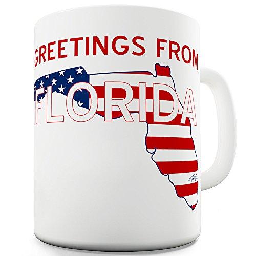 Fireworks Mug - 15 OZ Funny Coffee Mug Greetings From Florida Flag