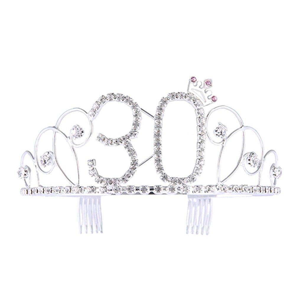 frcolor Corona compleanno 30anni Tiara Diadema Principessa con pettine strass cristallo argento
