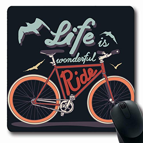 Ahawoso Mousepads Bicycle Quote Vintage Life Wonderful Ride Fixed Speed Parks Road Retro Tyre Bike Bird Art Oblong Shape 7.9 x 9.5 Inches Non-Slip Gaming Mouse Pad Rubber Oblong Mat