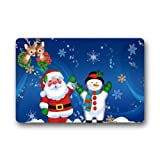Santa Claus Welcome Merry Christmas Custom Machine Washable Door Mats Indoor Outdoor House Doormat 23.6L x 15.7W