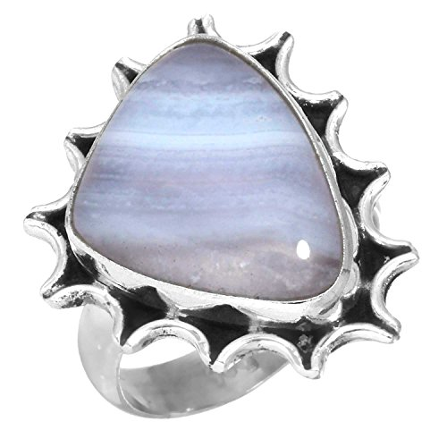 Natural Blue Lace Agate Gemstone Ring Solid 925 Sterling Silver Women Jewelry Size 5
