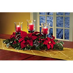 Poinsettia and Pinecone Candle Holder Centerpiece Christmas Holiday Décor