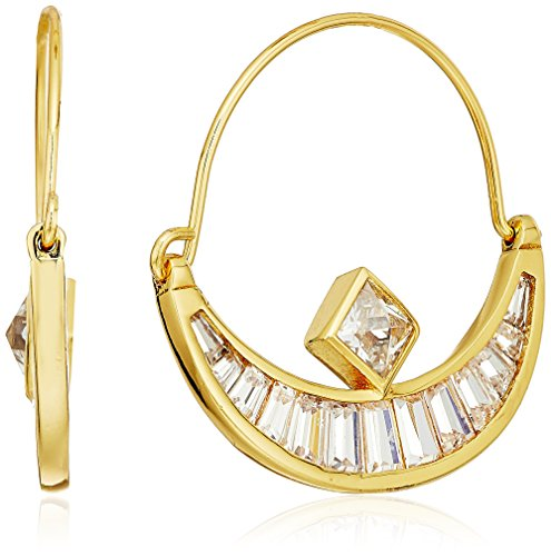 rk Crescent Baguette Gold Hoop Earrings (Nicole Miller Jewellery)