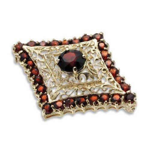 Gioie Broche Femme en Or 18 carats Jaune avec Grenat, 8.9 Grammes